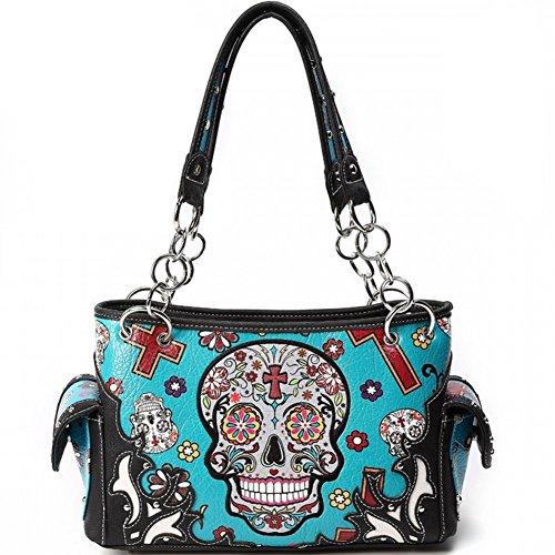 Hombro Elegante Bedding Moda Cuero cráneo Mujer Pu Blancho De turq Handbag Bolso Mecánico vgxzwdw4qp