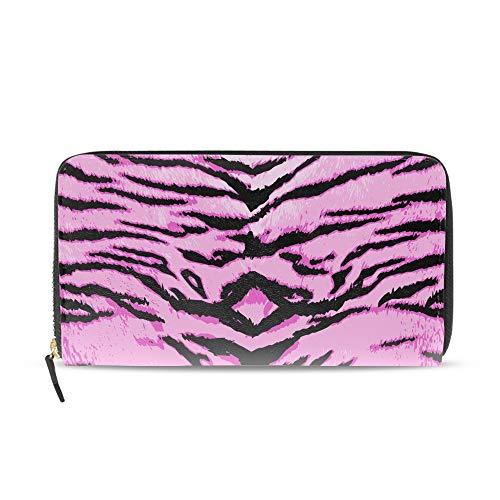 Tiger Clutch (Women Printed Zip Around Wallet Pink Tiger Print Leather Phone Clutch Travel Card Holder Purse)