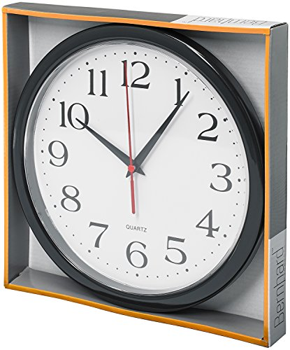 Bernhard-Products-Black-Wall-Clock-Silent-Non-Ticking-Quality-Quartz-Battery-Operated-10-Inch-Round-Easy-to-Read-HomeOfficeSchool-Clock