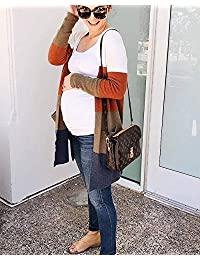 Abrigo de manga larga para mujer, diseño de rayas sueltas, color de bloque de punto, parte frontal abierta
