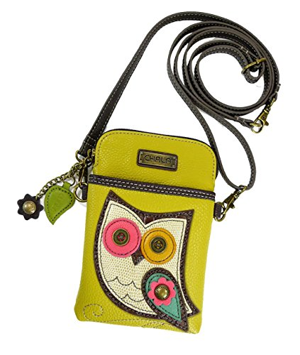 Chala Crossbody Cell Phone Purse - Women PU Leather Multicolor Handbag with Adjustable Strap - Owl - Mustard Yellow