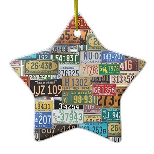 Christmas Ornaments Holiday Tree Ornament Vintage License Plates Both Sides Star Ceramic Ornament Crafts Christmas Gifts (License Plate Picture Frame compare prices)