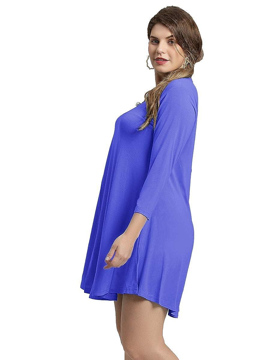 561e631e37 Larace womens casual loose sleeve simple plain swing flowy shirt dresses at  amazon womens clothing store