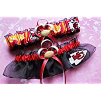 Customizable - KC Kansas City Chiefs red white gold print duck fabric handmade bridal prom black organza wedding garter set with football charm
