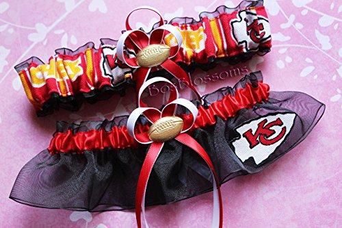 Customizable - KC Kansas City Chiefs red white gold print duck fabric handmade bridal prom black organza wedding garter set with football charm by BOYX Designs