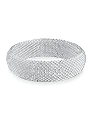 Bling Jewelry Thick Netted Cuff Bracelet Silver Plated