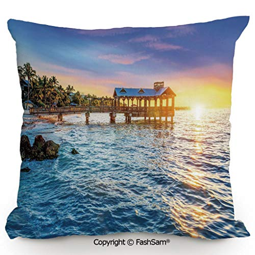 FashSam Decorative Throw Pillow Cover Pier at Beach in Key West Florida USA Tropical Summer Paradise for Pillow Cover for Living Room(16