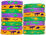 Dinosaur World Jurassic Style Silicone Wristbands - Set of 15 Bands (Solid 15-Pack)