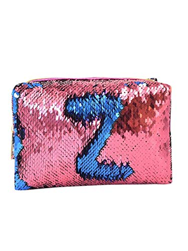 Fan-Ling Fashion Multi-Function Mermaid Sequin Pencil Case Makeup Bag,Cosmetic Coin Storage Pouch Zipper Purse Bag (Hot Pink)