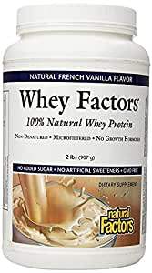 Natural Factors - Whey Factors, 100% Natural Whey Protein, French Vanilla, 45 Servings (2 lbs)