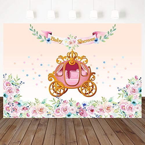 Mocsicka Pumpkin Car Baby Shower Photo Backgrounds Watercolor Pink Floral Flowers Photography Backdrops 7×5ft Vinyl Cake Table Children Kids Newborn Birthday Party Banner Backdrop]()
