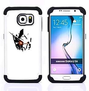 """Samsung Galaxy S6 / SM-G920 - 3 en 1 impreso colorido de Altas Prestaciones PC Funda chaqueta Negro cubierta gel silicona suave (Minimalista Robot extranjero Blanco Negro Hierro"""")"""