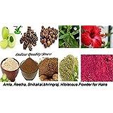 Amla Reetha Shikakai Bhringraj and hibiscus powder for hair