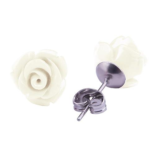 Rosen Ohrstecker Weiß Edelstahl Blumen Ohrringe 10mm Ohrschmuck für ...
