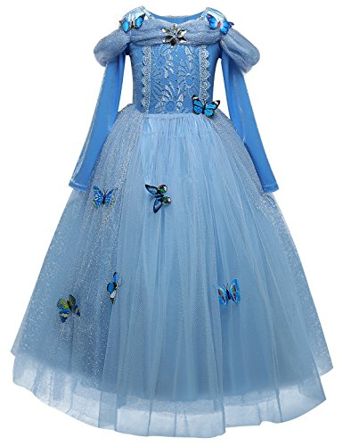 TTYAOVO Girls Dress Tutu 3D Butterfly Princess Party Dresses Size 7-8 Years Sky Blue