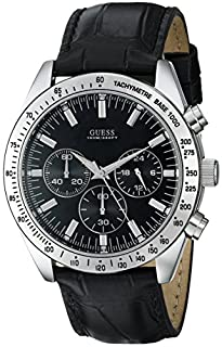 GUESS Men's U11507G1 Black Leather Chronograph Sport Watch (B000WV3CZC) | Amazon price tracker / tracking, Amazon price history charts, Amazon price watches, Amazon price drop alerts