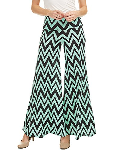 WB1195 Womens Polka Dot Print Wide Leg Lounge Pants S CHEV_Mint
