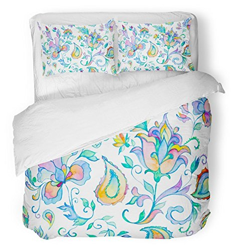 Emvency Bedsure Duvet Cover Set Closure Printed Watercolor Hand Paisley Whimsical Blue Flowers Leaves Oriental Arabic Indian Spain Decorative Breathable Bedding With 2 Pillow Shams Full/Queen Size by Emvency