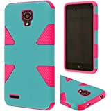 HRWIRELESS(TM) For Alcatel OneTouch Conquest Dynamic Slim Rugged Hybrid Dual Layer Cover Case (Teal Hot Pink)
