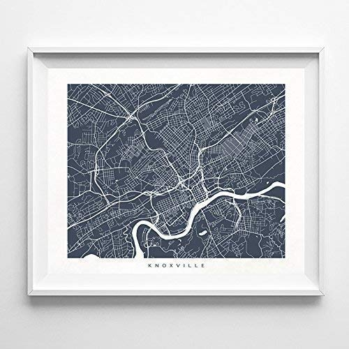 (Knoxville Tennessee Street Road Map Home Decor Poster Urban City Hometown Wall Art Print - 70 Color Options - Unframed)