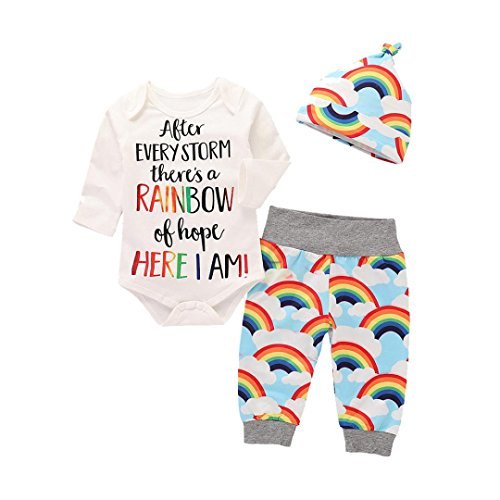 - Toddler Baby Girls Boys 3Pcs Clothes Sets for 0-24 Months,Lovely Letter Rainbow Printed Romper Tops Pants Hat Outfits Set (0-6Months, White)
