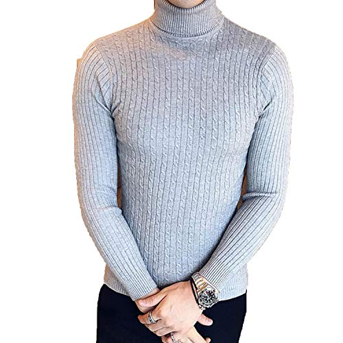 Heat-Tracing Winter High Neck Thick Warm Sweater Mens Sweaters,997 Grey,L