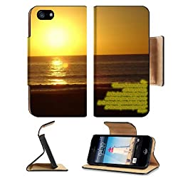 Christian Beach Bible Quotes Jesus Apple iPhone 5 / 5S Flip Cover Case with Card Holder