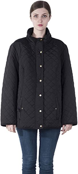 Infron In Front Women Plus Size Winter Warm Parka Leightweight Quilted Down Jacket