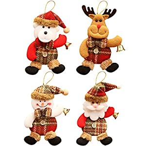 heekpek Albero di Natale Decorazione Ornamenti Ciondolo Danza Babbo Natale Pupazzo di Neve Alce Orso Plaid Ciondolo in Tessuto Ciondolo Albero di Natale Decorazione Natalizia 17 spesavip