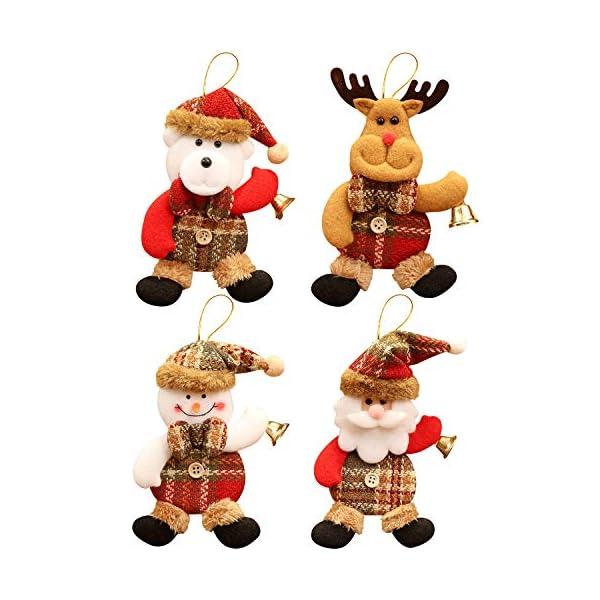 heekpek Albero di Natale Decorazione Ornamenti Ciondolo Danza Babbo Natale Pupazzo di Neve Alce Orso Plaid Ciondolo in Tessuto Ciondolo Albero di Natale Decorazione Natalizia 1 spesavip