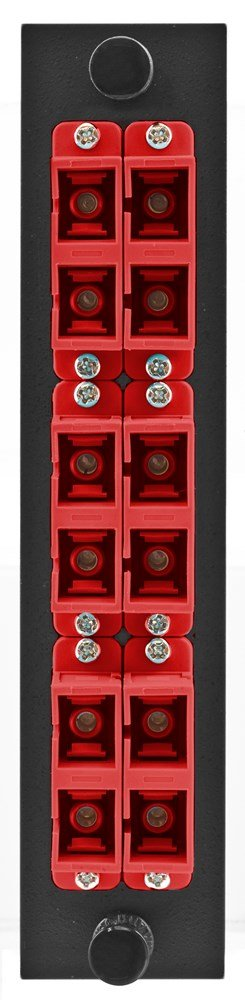 Hubbell HUBFSPSCDM6R Adapter Panel, 12-Fiber, 6 SC Duplex, Phosphor Bronze, Red by Hubbell