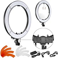 Neewer 18 inches Outer Dimmable SMD LED Ring Light with Battery Holder, Filters and Power Adapter with US/EU Plug for Makeup Photo Studio Portrait YouTube Video Shooting (Battery Not included)