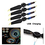 #2: Rechargeable LED Light Flash Low-Noise Foldable Quick-Release Propellers for DJI Mavic Pro/Mavic Platinum Drone (2 Pairs)