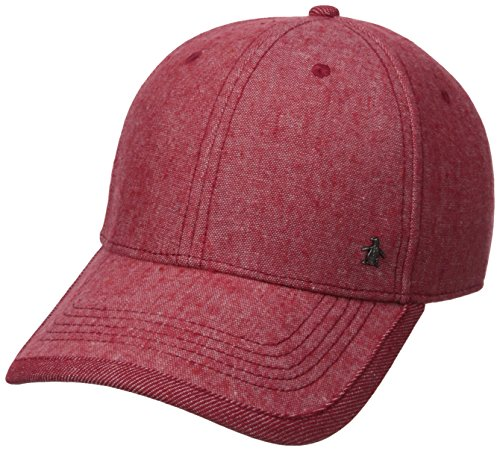 original-penguin-mens-chambray-precurved-ball-cap-samba-red-one-size