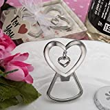 96 Heart Shaped Silver Metal Bottle Openers with Dangling Heart Design