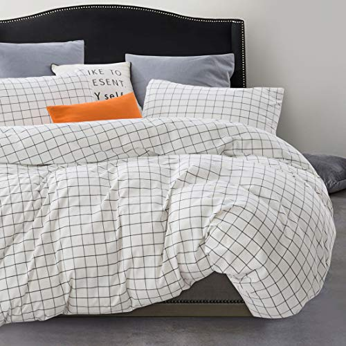 ATsense Duvet Cover Sets, 100% Washed Cotton, King 3-Piece Bedding Duvet Cover, Simple Style Farmhouse Bedding Set (White Grid J804-5)