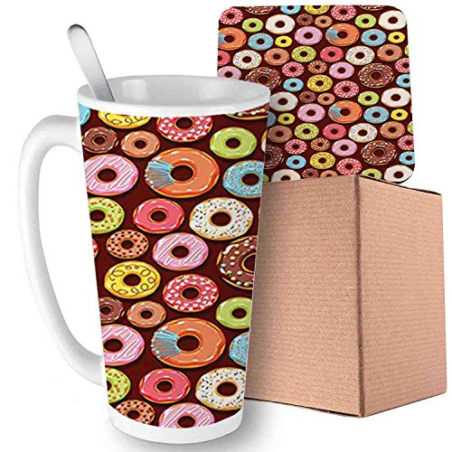 (Yummy Donuts Pastry Goods Baked Delicious Tastes Sweet Dessert Menu Art, Multicolor;Ceramic mug with Spoon & Coaster Creative Morning Milk Coffee Tea Porcelain 16oz gifts for)