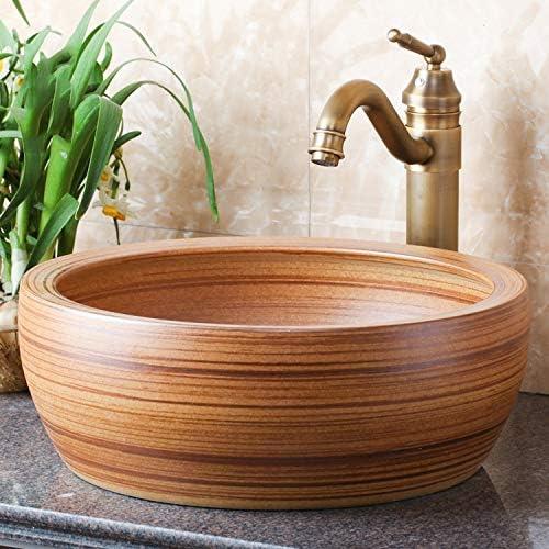 カウンター洗面浴室の洗面台以上のセラミックアート盆地のホテルの洗面台黄木目