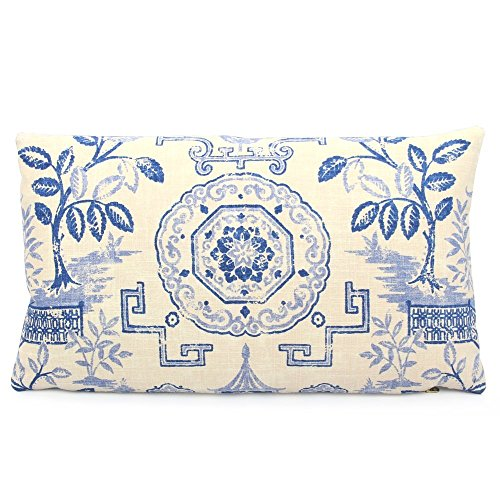 Asian Medallion (Chloe & Olive Medallion Teahouse Pagoda Asian Throw Toss Pillow - Blue and Beige - 12x20
