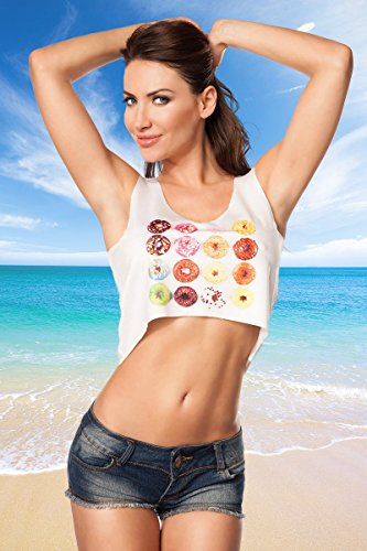 Angies Glamour Fashion - Camiseta sin mangas - para mujer Weiß/Rosa