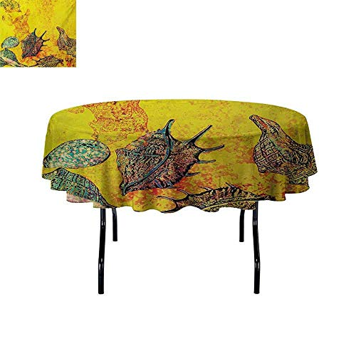 Gloria Johnson Seashells+Iron-Free+Anti-fouling+Holiday+Round+Tablecloth+Faded+Style+Distressed+Backdrop+with+Stylized+Seashells+Underwater+Marine+Theme+Table+Decoration+D59+Inch+Yellow+Teal+ ()