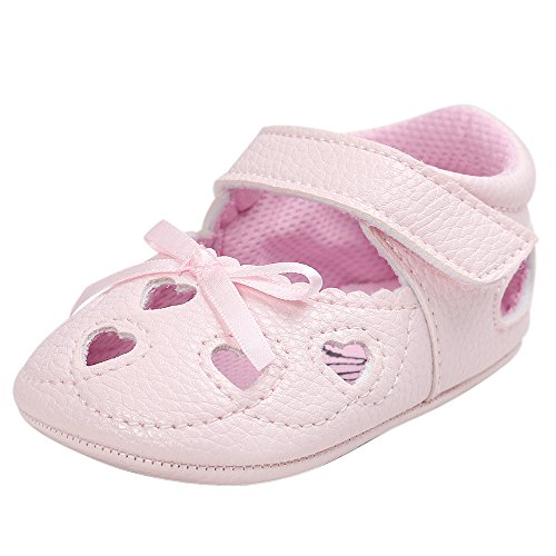 Respctful✿Baby Girl Sandals Soft Non Slip Closed Toe Beach Summer Princess Flat Shoes with Cute Bow Pink