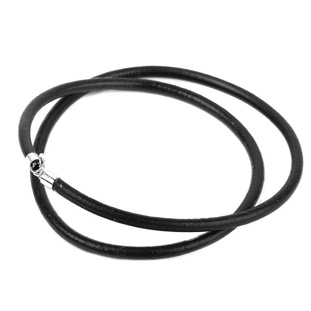 Beautiful Bead Solid Color Artificial Leather Cord Rope for Necklace Bracelet 16 Inch, Black