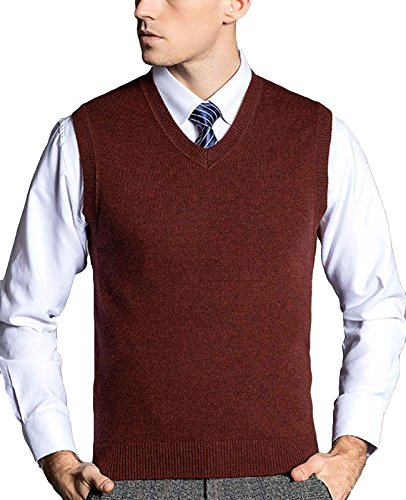 Nidicus Men's Classic Douglas Solid Color Merino Wool V-Neck Sweater Vest Black Red L (Douglas Wool 100%)