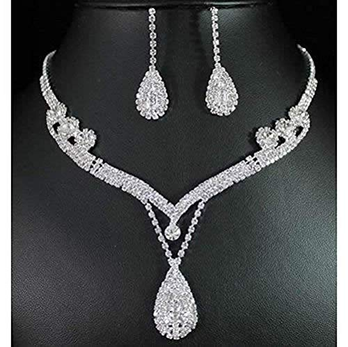 (ELEGANT ROSE Women's Jewelry Set Bridal Wedding Rhinestone Necklace Earring Sets)
