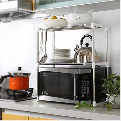 Horno de microondas multifuncional ajustable de acero inoxidable Estante para estantes Tipo de pie Soporte de cocina doble...