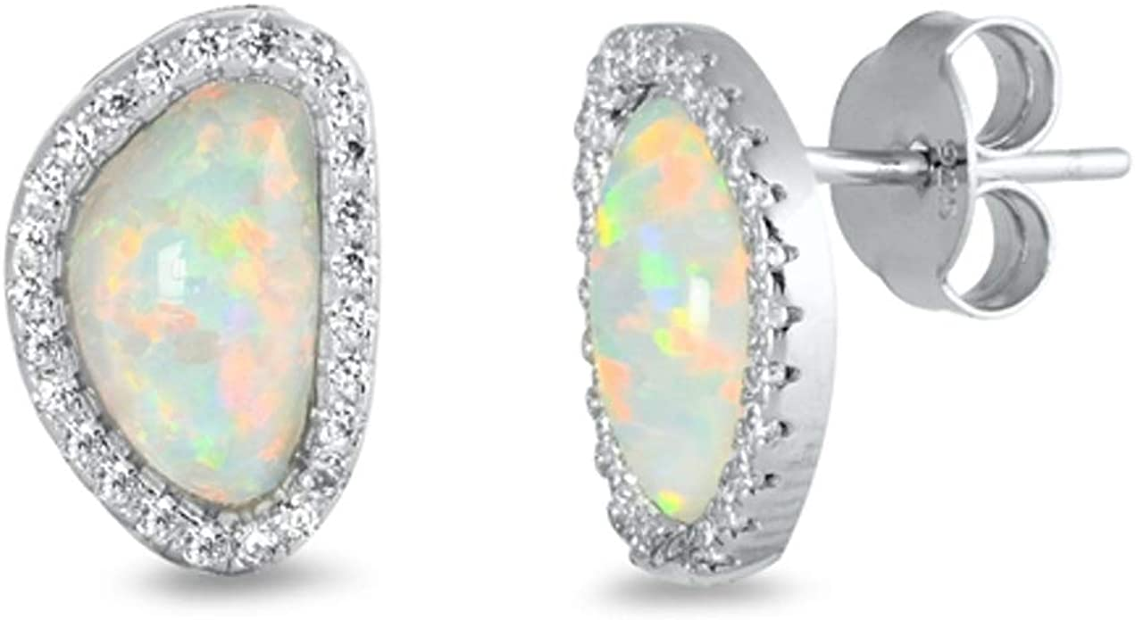 925 Sterling silver oval stud earrings with Opal stones