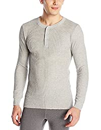 Fruit of the Loom Men\'s Classics Midweight Waffle Thermal Henley Top, Light Grey Heather, Medium