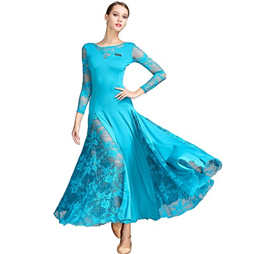 standard Waltz skirts skirt Cha Blue dance dress dance Ballroom Modern Cha dress dress Lace National skirt dress O5zzq4