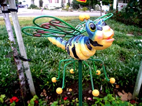 DRAGONFLY GARDEN STAKE/ STATUE/FIGURINE DRAGONFLY YARD STAKE/ART MEDIUM